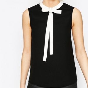 Ted Baker Black Bow Tie Crepe Tank Top Blouse